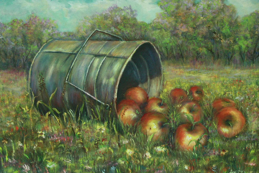 Still Life Painting - Harvest With Red Apples by Katalin Luczay