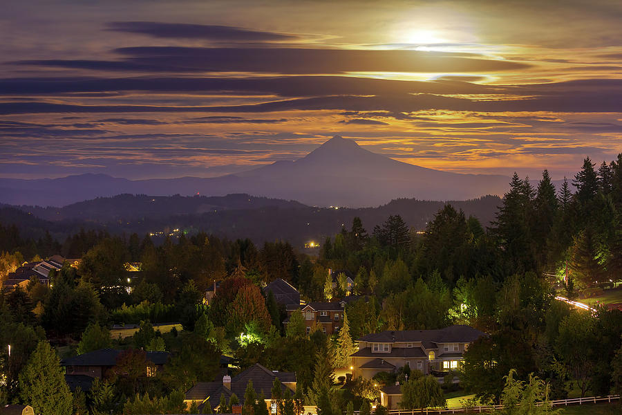 Harvest Moon Photograph - Harvest Moon 2016 Moonrise Over Happy Valley Oregon by David Gn