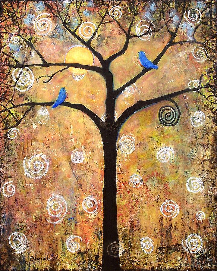Tree Painting - Harvest Moon by Blenda Studio