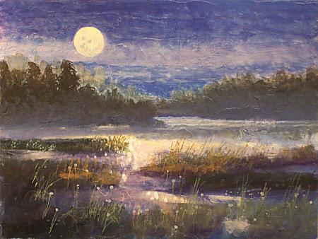 Landscape Painting - Harvest Moon by Dalas Klein