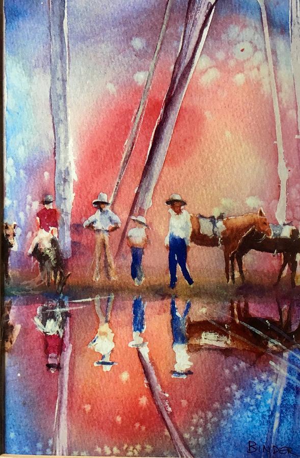 Horses Painting - Harvest Moon by Diane Binder