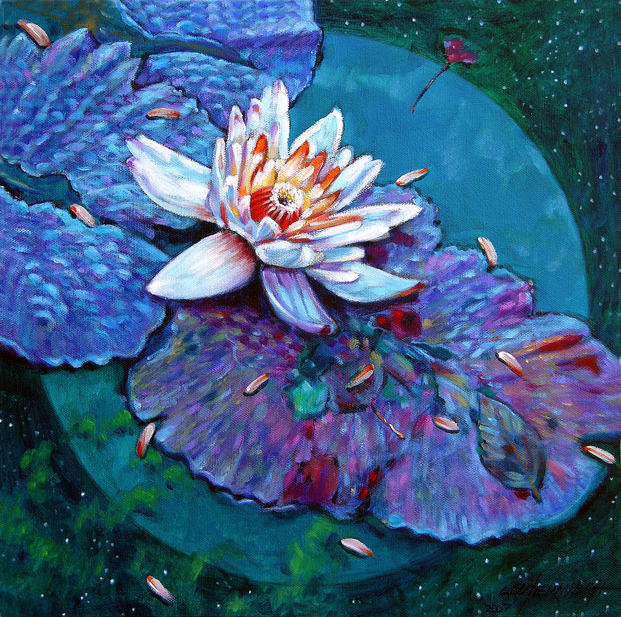 Water Lily Painting - Harvest Moon by John Lautermilch