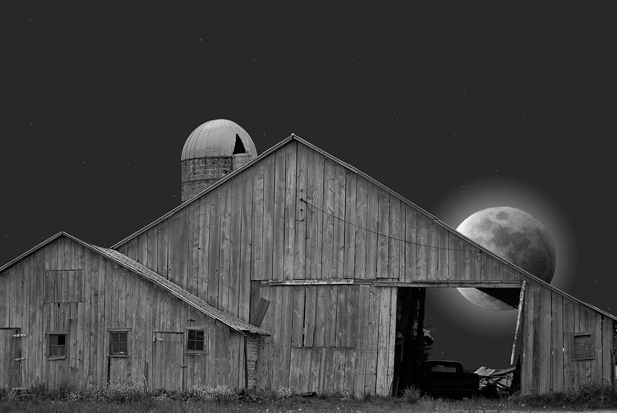 Barn Photograph - Harvest Moon by Maria Dryfhout