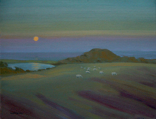 Seascape Painting - Harvest Moon by Thaw Malin III