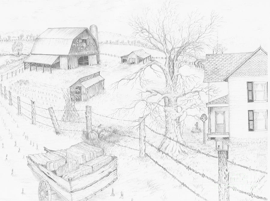 Realistic Drawing Drawing - Harvest Time At Home by Dan Theisen