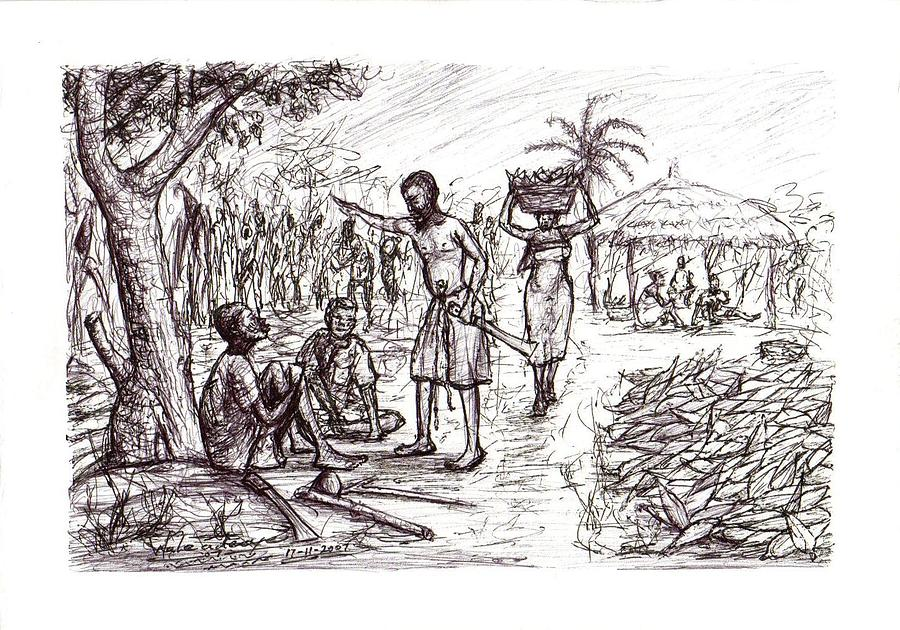 Trees Drawing - Harvest Time  by Wale Adeoye