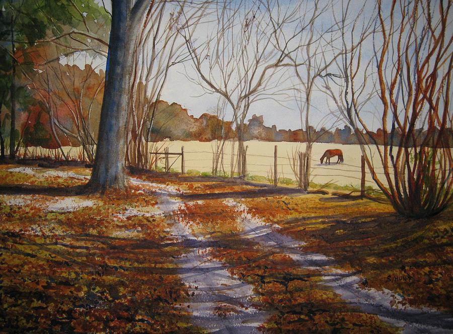 Landscape Painting - Harwell Farm by Shirley Braithwaite Hunt