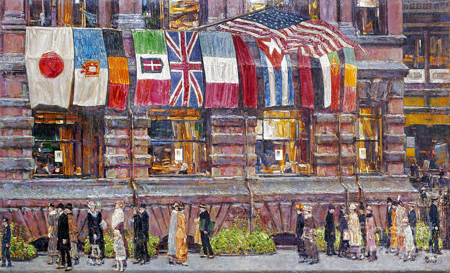 1917 Photograph - Hassam: Allied Flags, 1917 by Granger
