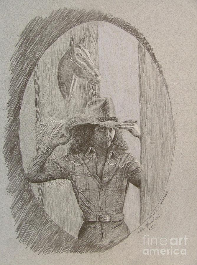 Cowgirl Drawing - Hat Creek by Dan Hausel