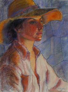 Hat Series Summer Glow Painting by Helen Hickey