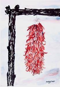Pen And Ink Painting - Hatch Texas Chili Pepper painting by Derek Mccrea