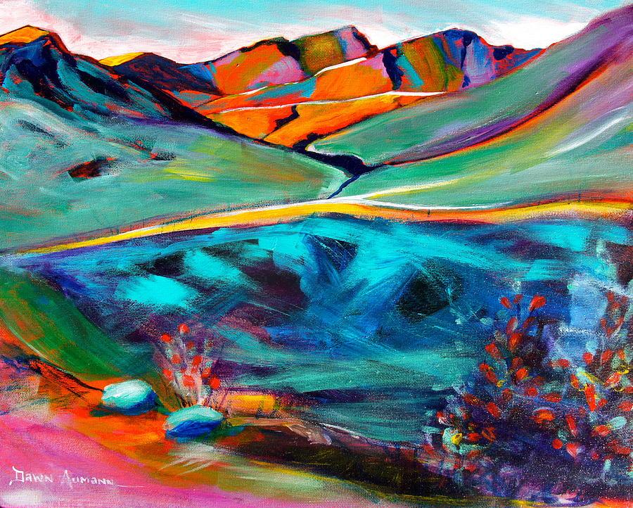 Hatcher Pass Painting - Hatcher Pass in Full Color. by Dawn Aumann