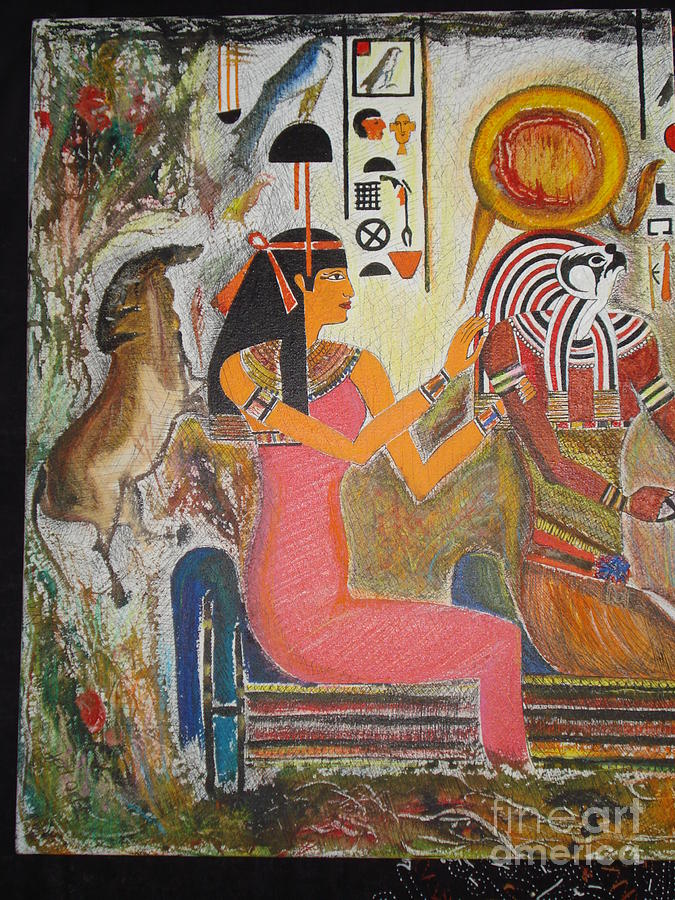 Hathor Mixed Media - Hathor And Horus by Prasenjit Dhar