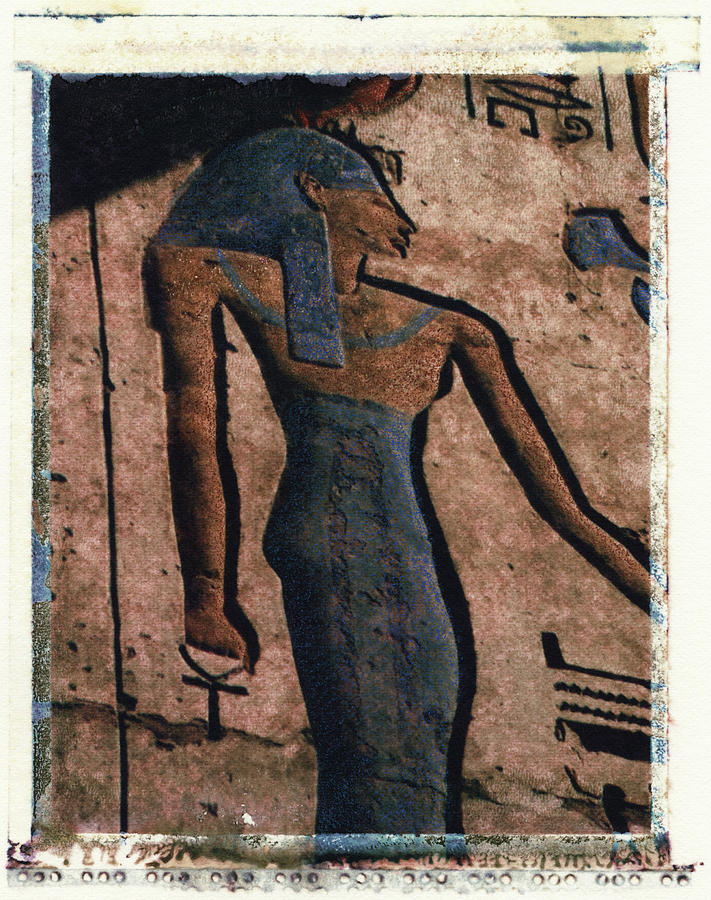 Polaroid Transfer Photograph - Hathor Holding The Ankh Sign by Bernice Williams