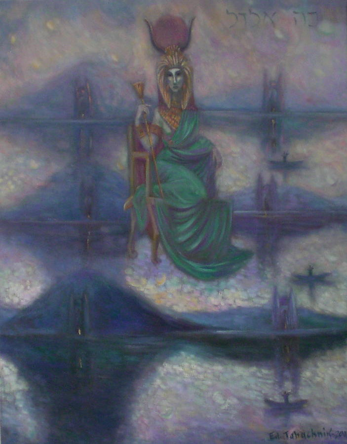 World Creation Painting - Hathor. The Goddess That Gave Birth To The Universe. by Edward Tabachnik