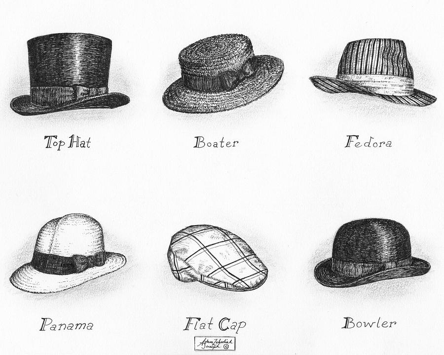 Black Drawing - Hats Of A Gentleman by Adam Zebediah Joseph 3a62c75c611