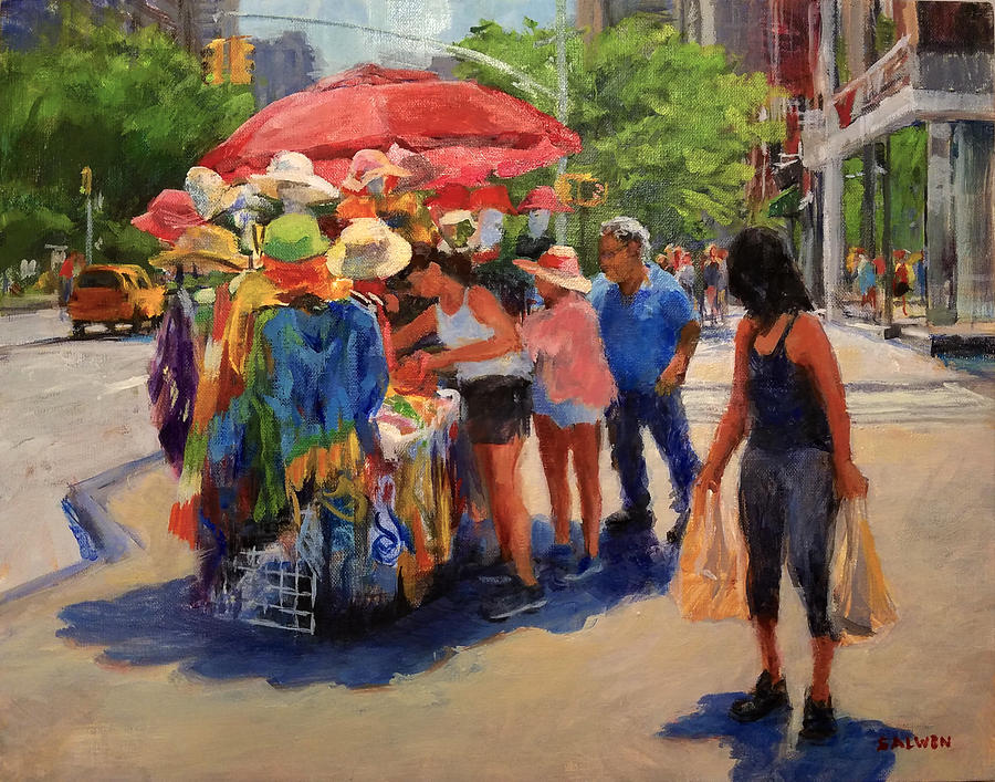 Landscape Painting - Hats, Scarves and Sunlight on Broadway by Peter Salwen