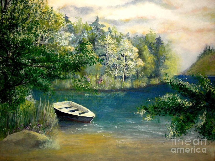 Landscape Painting - Hatzec Lake by Vivian  Mosley