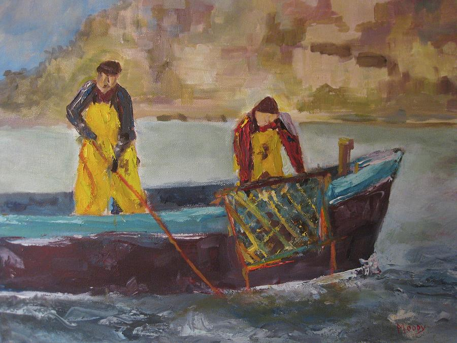 Marine Painting - Hauling The Trap by Brent Moody