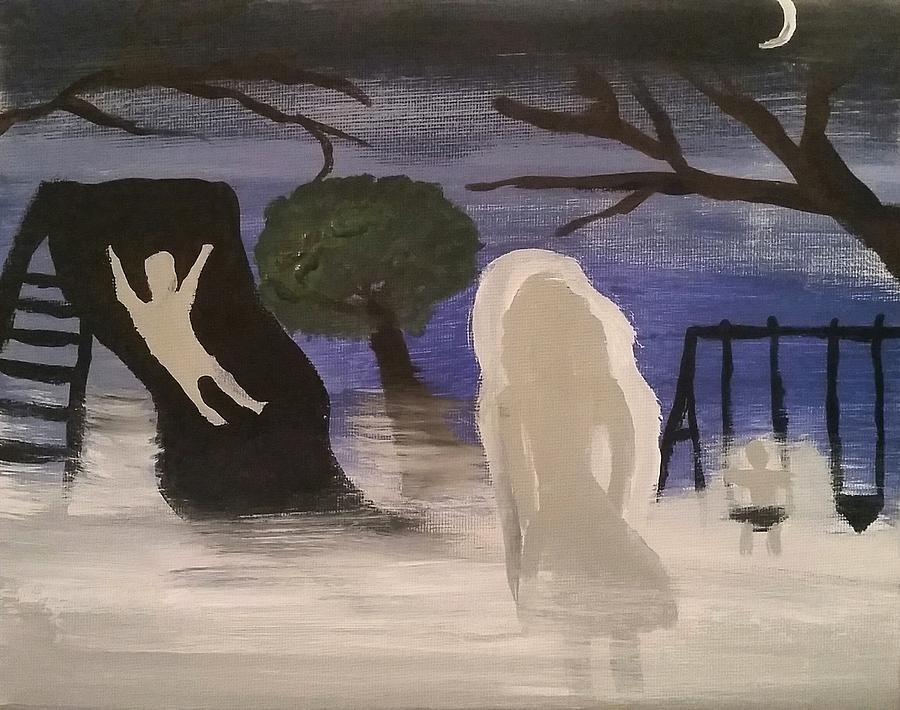 Ghosts Painting - Haunted Playground  by Vale Anoai
