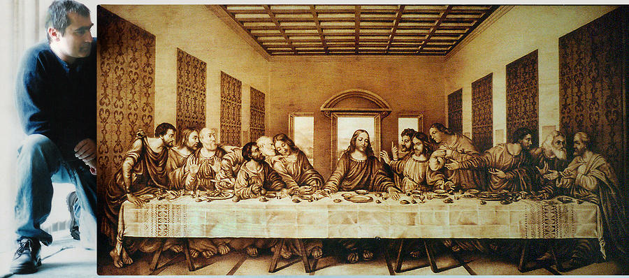Dino Muradian Pyrography - Having The Last Supper - 1999 by Dino Muradian