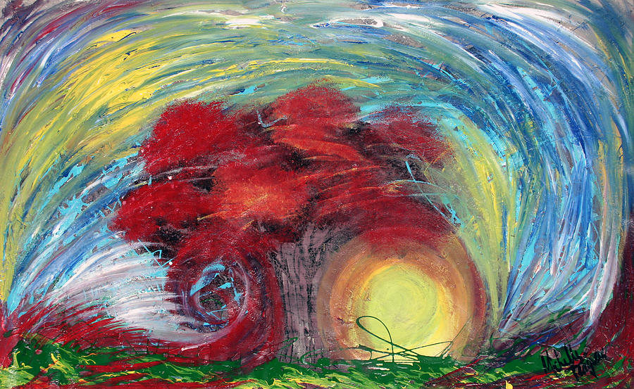The Tree Painting - Havoc Winds And Strong Tree by Michelle Teague