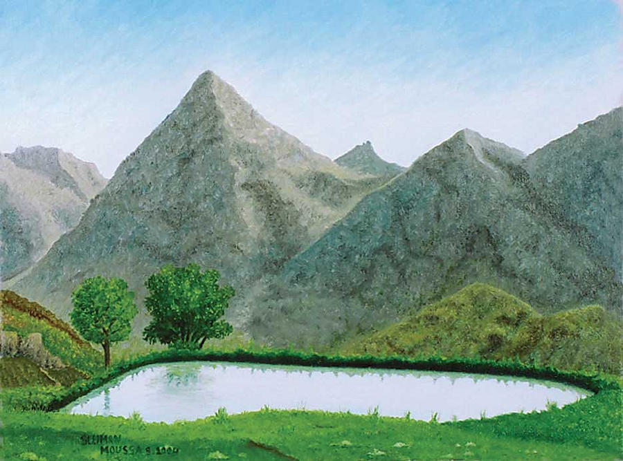 Landscape Painting - havroun Mt. by Sleiman Moussa