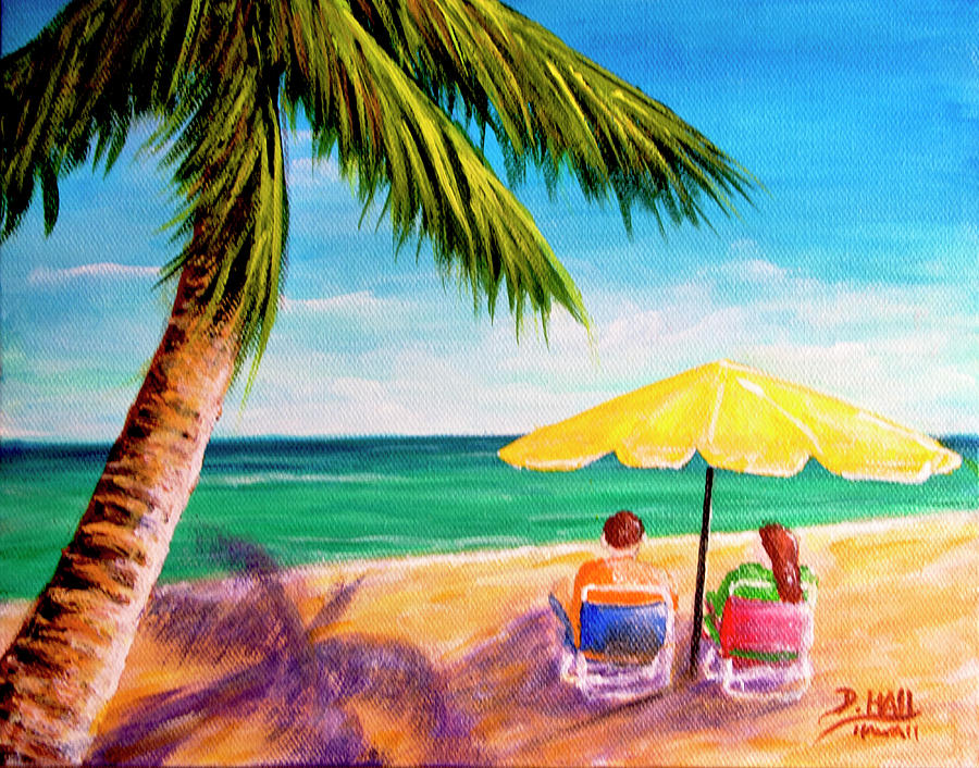 Hawaii Beach Painting - Hawaii Beach Yellow Umbrella #470 by Donald k Hall