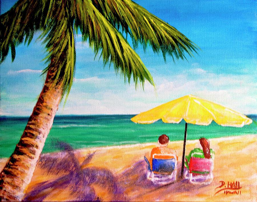 Hawaii Beach Painting - Hawaii Beach Yellow Umbrella #470 by Donald k Hall
