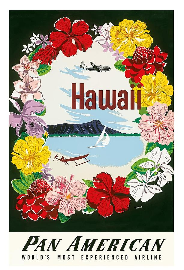 Hawaii Flower Lei And Diamond Head Crater Vintage Hawaiian Travel