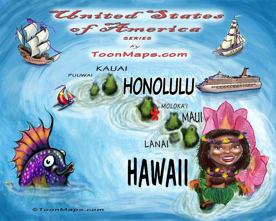 Hawaii Fun Map Digital Art