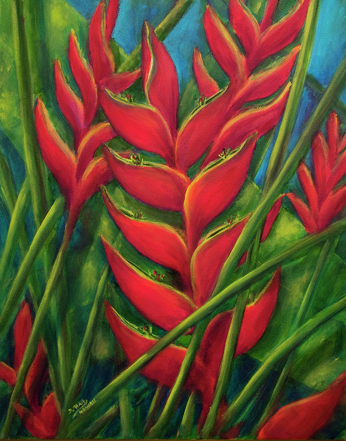 Heliconia Painting - Hawaii Heliconia Flowers #445 by Donald k Hall