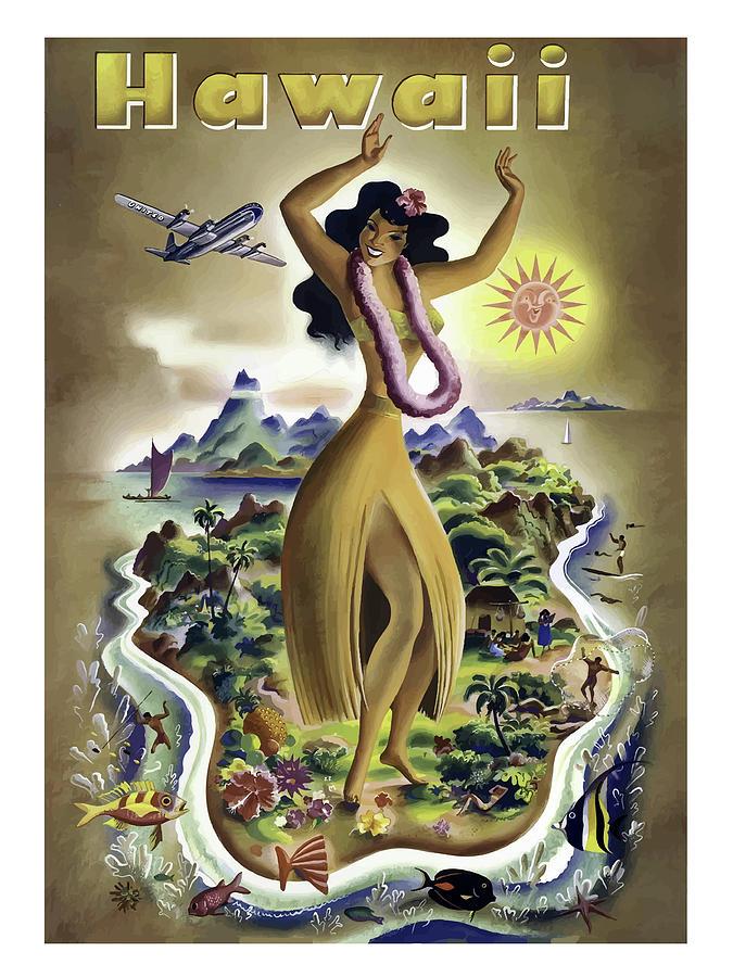 Big Painting - Hawaii Isle, Big Hula Girl by Long Shot