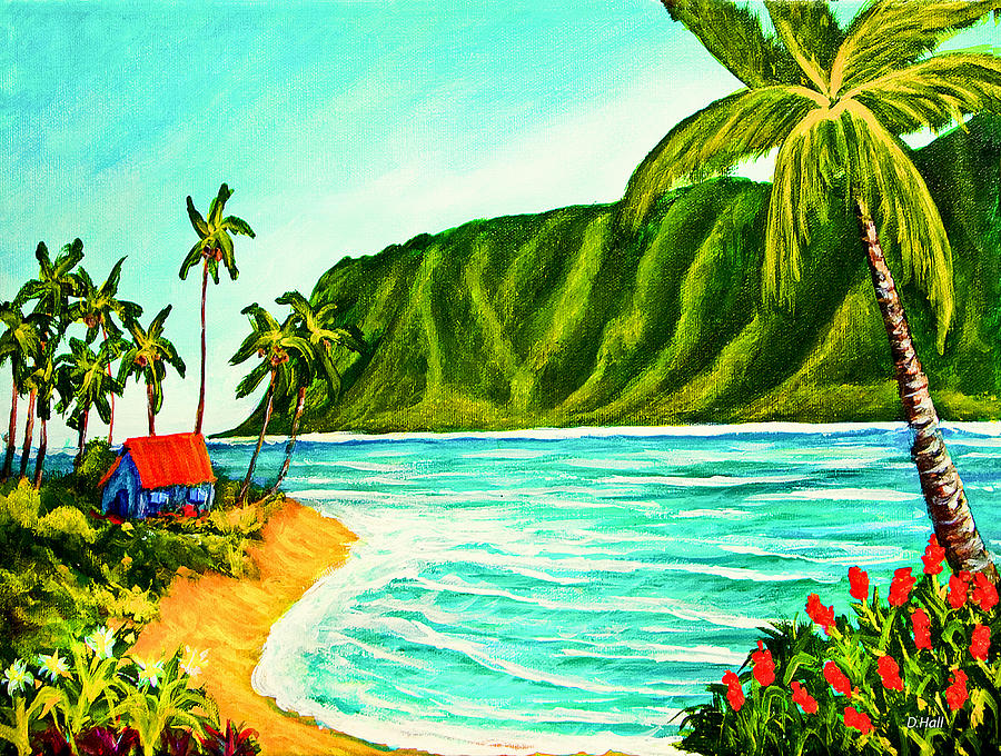 Hawaii Koolau Mountains Beach Art Painting 361 Donald K Hall on Metal Wall Art Mountains Trees
