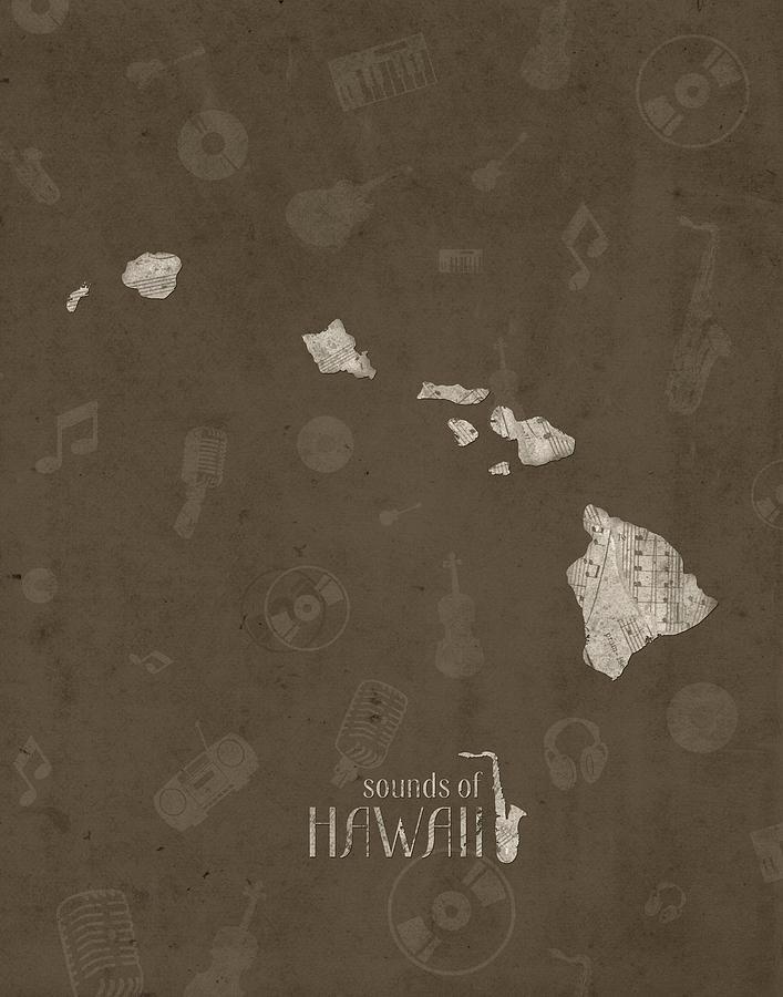 Hawaii Map Music Notes 3 Digital Art