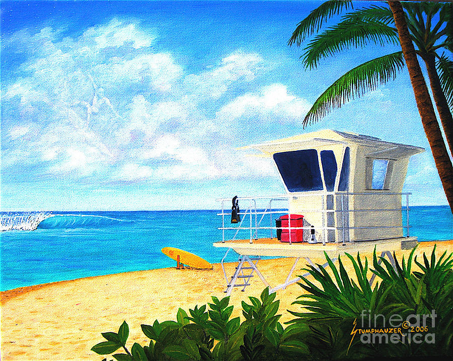 Hawaii Painting - Hawaii North Shore Banzai Pipeline by Jerome Stumphauzer