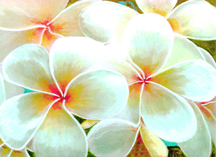 Plumeria Painting - Hawaii Plumeria Frangipani Flowers #86 by Donald k Hall