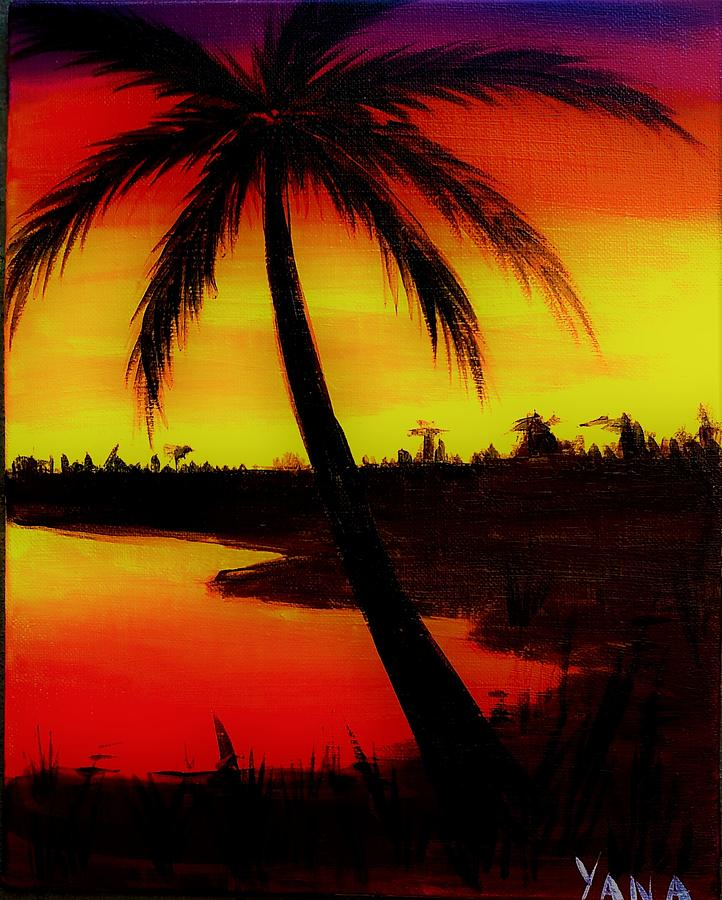 Hawaii Sunset Painting By Yana Gifford