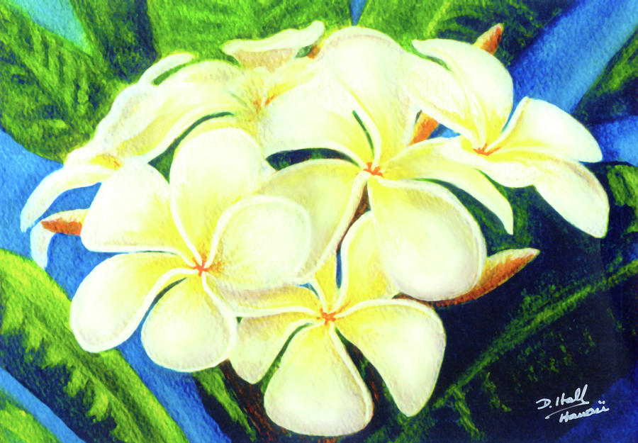 Plumeria Painting - Hawaii Tropical Plumeria #158 by Donald k Hall