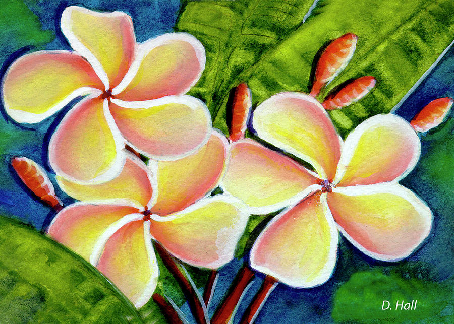 Plumeria Painting - Hawaii Tropical Plumeria  Flower #314 by Donald k Hall