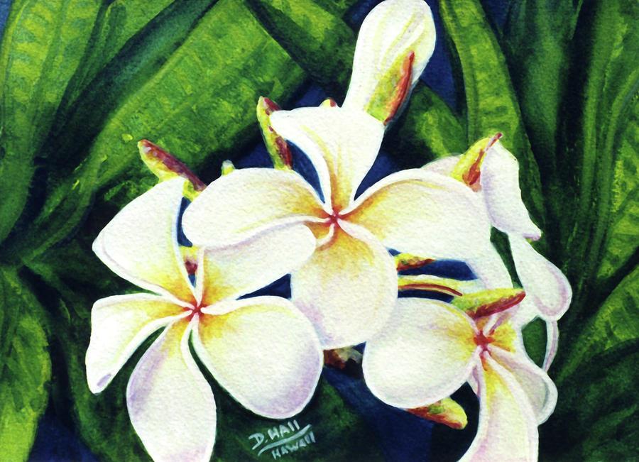 Plumeria Painting - Hawaii Tropical Plumeria Flowers #160 by Donald k Hall