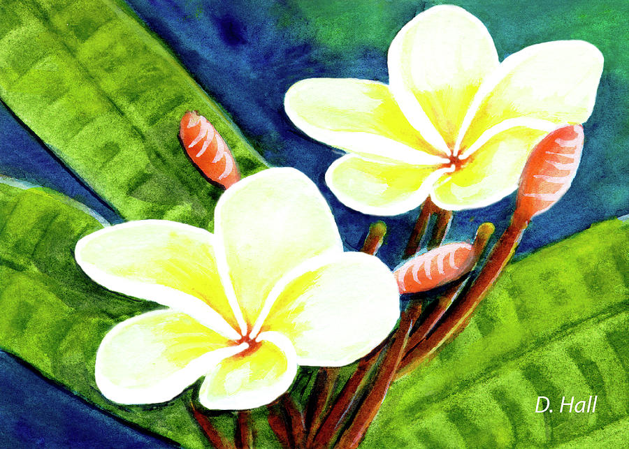 hawaii tropical plumeria flowers 302 painting by donald k