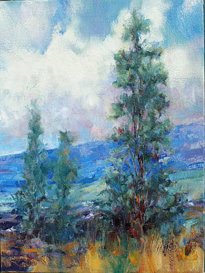 Landscape Painting - Hawaii Volcanoes - Ohia With Mauna Loa by Rod Cameron