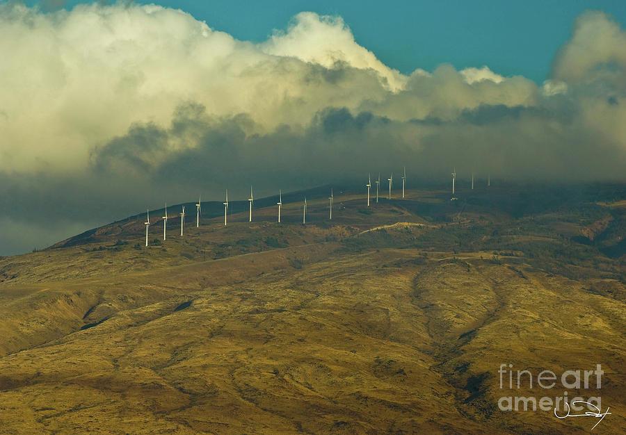Clouds Photograph - Hawaii Windmills On Maui One by Vance Fox
