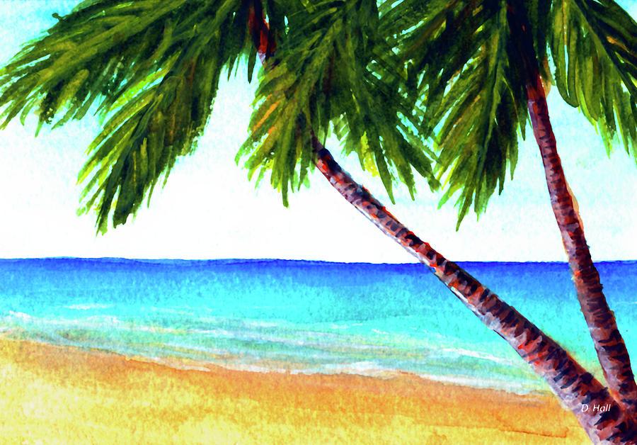 Hawaiian Beach Palm Trees #425 Painting by Donald k Hall  Hawaiian Palm Tree Drawings