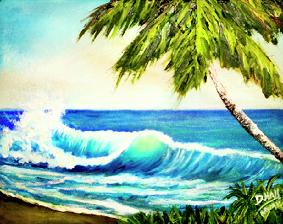 Hawaiian Painting - Hawaiian Beach Wave #420 by Donald k Hall
