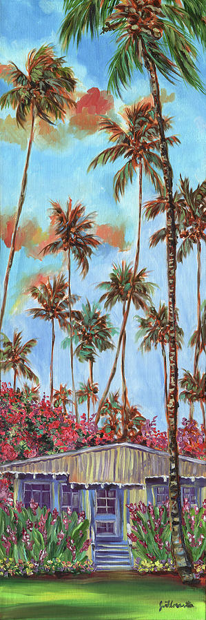 Colorful Painting - Hawaiian Cottage With Pink And Red Tropical Flowers by Jenny Floravita