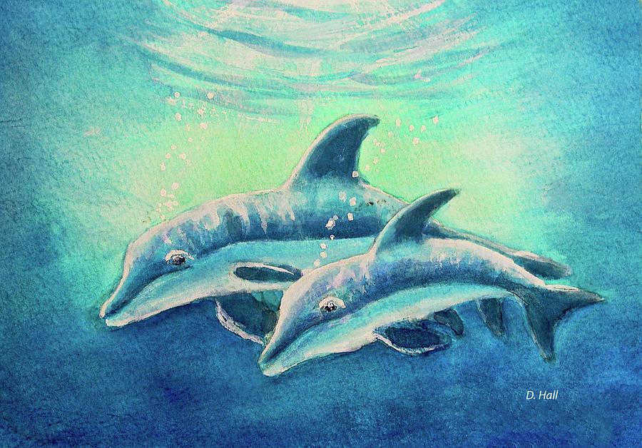 Dolpins Painting - Hawaiian Dolphins  #389 by Donald k Hall