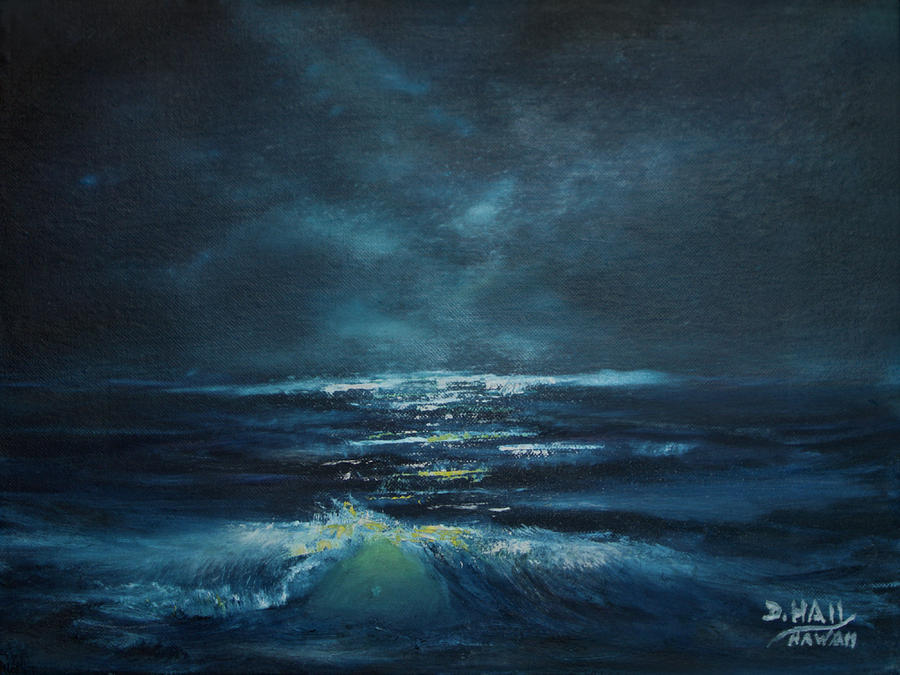 Moon Painting - Hawaiian Enchanted Sea #431 by Donald k Hall