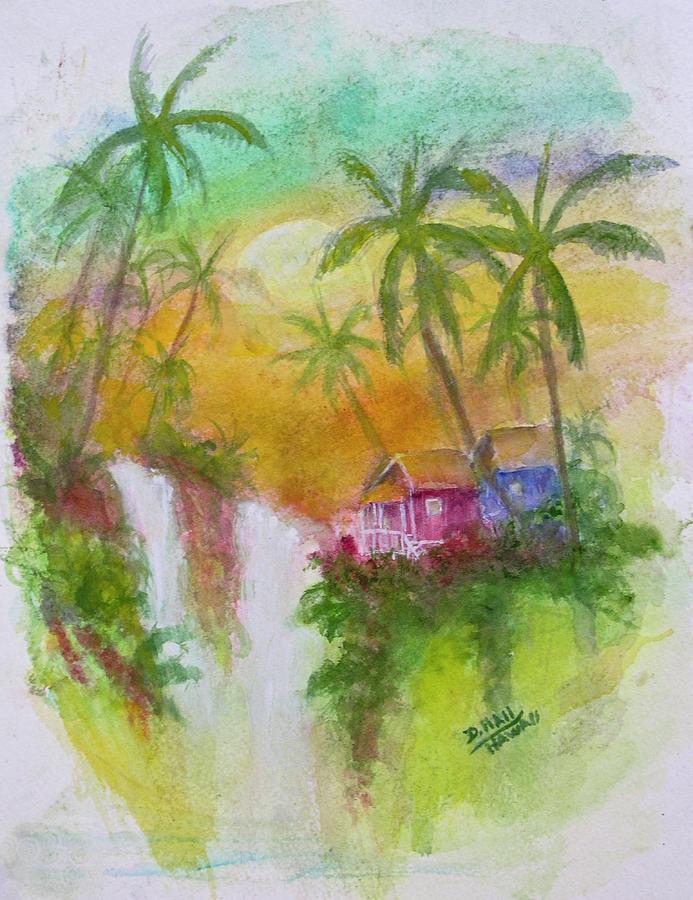 Hawaii Painting - Hawaiian Homestead In The Valley #460 by Donald k Hall